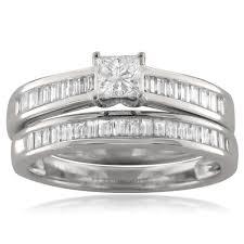 bridal set wedding rings 14k white gold princess cut baguette diamond engagement bridal