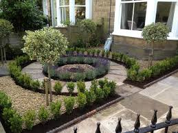 trimmed front yard landscape garden with lavenders in front of a