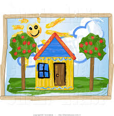 House Drawing by Avenue Clipart Of A Childrens Drawing Of A Sun Shining Over A