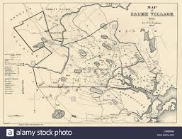 Massachusetts Town Map by Salem Massachusetts Colony In 1692 Map Drawn 1866 Stock Photo