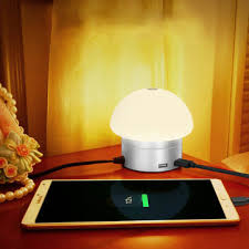 bedside l usb charger 30w touch dimmable smart mushroom light with 6 usb charger port