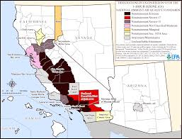 Los Angeles Regions Map by Ozone 1 Hour Standard Maps Air Quality Analysis Pacific