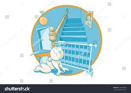 Baby Stairgate Blue Orange Cartoon Crawling Baby Stair Stock Vector 183483443