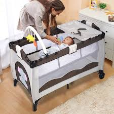 Playpen Bassinet Changing Table Baby Crib Playpen Playard Pack Travel Infant Bassinet Bed Foldable