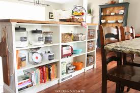 golden boys and me bookshelves turned kitchen island ikea hack ikea hack billy bookshelves kitchen island storage with butcher block and bead board www