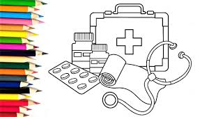 coloring pages medicines how to draw medical doctor kit for baby