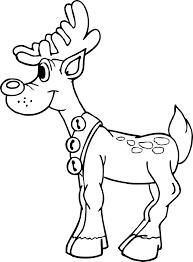 christmas reindeer coloring page reindeer with bells on