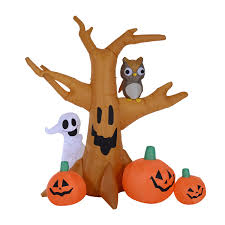 homcom halloween inflatable tree w pumpkins led lights aosom co uk
