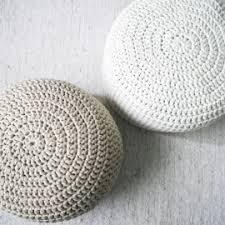 beige crochet round pouf ottoman nursery foot stool pouf