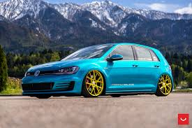 volkswagen gti blue volkswagen gti mk7 vfs 6 custom gold vossen wheels 2016