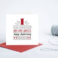 1st year wedding anniversary personalised 1st year anniversary card by gift library