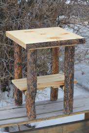 Free Rustic End Table Plans by Rustic Log Bark On Top And Legs End Table Nightstand Cabin