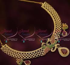 fashion design necklace images Nl7712 stylish ruby emerald peacock design necklace latest fashion JPG