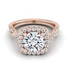round square rings images Round cut diamond halo twisted pave shank engagement ring in 14k jpg