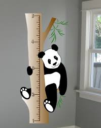 panda wall decal growth chart deco art sticker mural digiflare kids wall decal size inches tall wide