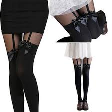 cute stockings womens hot sexy cute stockings pantyhose tattoo mock bow suspender