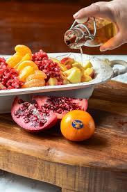 winter fruit salad with cinnamon vanilla dressing food above gold