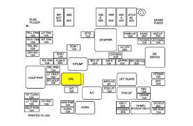 2001 gmc location of the drl relay for the headlights mechanics