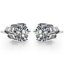 diamond stud earrings uk 1ct cut sona diamond stud earrings for women genuine