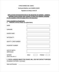 sample nursing registration forms 10 free documents in word pdf