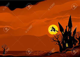 halloween background witch flying on broom from her house