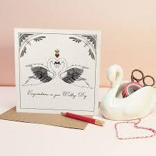 swan wedding nouveau swans wedding card by fawn thistle