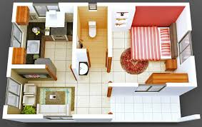Bedroom And Kitchen Apartments Small Apartment Scheme Red Stripe Bedroom Round Rug