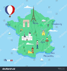 Marseilles France Map by France Colorful Travel Maps Popular Landmarks Stock Vector
