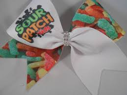 Sour Patch Kid Costume Halloween Cheer Bow Sublimated Sour Patch Kids Rhinestone Center