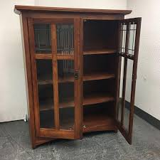 Mission Style Bookcase Bassett Furniture Mission Style Leaded Glass Book Case Chairish