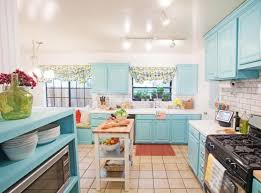 Kitchen With Track Lighting by Kitchen Be Colorful With Blue Kitchen Cabinets Blue Kitchen