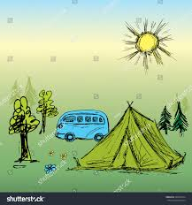camping wooden tent bushand drawing vector stock vector 298229474