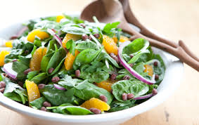spinach salad with adzuki beans and satsuma vinaigrette whole