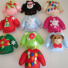 cutest handmade felt sweater ornaments
