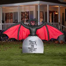 walmart inflatable halloween decorations 5 ft airblown inflatables scary bat with tombstone walmart com