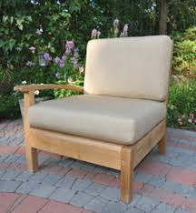 Teak Sectional Patio Furniture - navy blue seat cushions