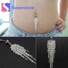 aliexpress belly rings images Fashion rhinestone tassel chain dangle belly button ring bar jpg