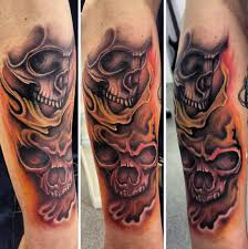 tattoos of skulls and flames clipart library