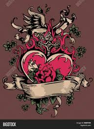 heart rose cross wing tattoo vector u0026 photo bigstock