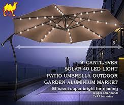 patio umbrella with solar led lights amazon com strong camel 9 cantilever solar 40 led light patio