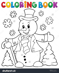 Topic Coloring Book Snowman Topic 1 Eps10 Stock Vector 313032857