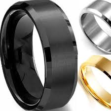 buy metal rings images Men 7 15 and half sizes 8mm black gold silver 316l stainless steel jpg
