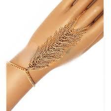 multi ring bracelet images Gold tone multi chain tassel finger ring hand chain bracelet jpg