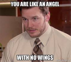 Angel Meme - you are like an angel with no wings andy dwyer too afraid to