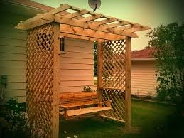 Wooden Garden Swing Seat Plans by Astounding Wooden Patio Deck Design With Small Garden Featuring