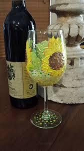 sunflower wine glass hand painted sunflower wine glass wine