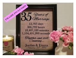 35 wedding anniversary framed 35th anniversary gift 35th wedding anniversary gifts