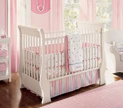 bedroom alluring pink and white sheer curtain near white crib