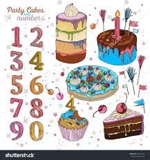 Dessert Flags Hand Drawn Vector Cake Set Cupcake Stock Vector 681667234