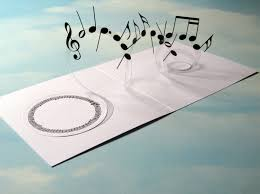 music card spiral pop up musical notes 3d card handmade